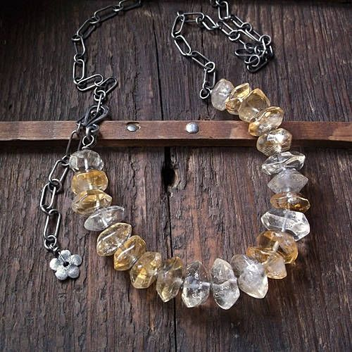 SO SUNNY, citrine necklace, citrine nuggets, citrine gemstone, sterling silver, flower, massive chain by pieceofmysoulArt on Etsy