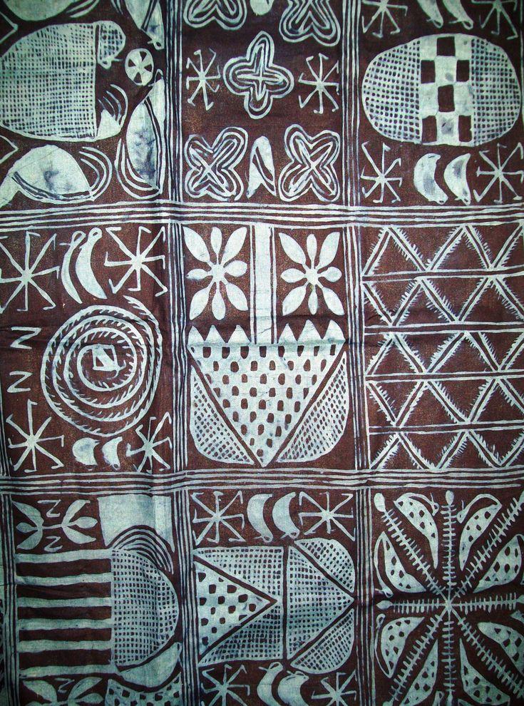 Africa | Adire textile; cassava paste style | Yoruba people of Nigeria | Partial view shown