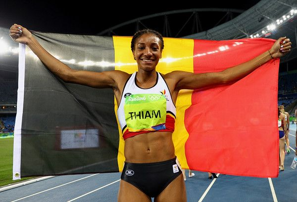 Nafissatou Thiam of Belgium celebrates winning gold in the Women's Heptathlon on Day 8 of the Rio 2016 Olympic Games at the Olympic Stadium on August 13, 2016 in Rio de Janeiro, Brazil. - Athletics - Olympics: Day 8