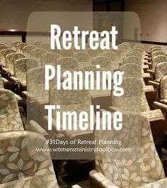 I thought the perfect way to end our 31 Days of Retreat Planning would be to give you a Retreat Planning Timeline. We've worked through a pile of details and it can be helpful to organize the pieces all in one place. I hope this series has been helpful to you and your team. If …