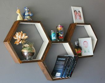 Wooden Floating Shelves Honeycomb Cubby Shelf by HaaseHandcraft
