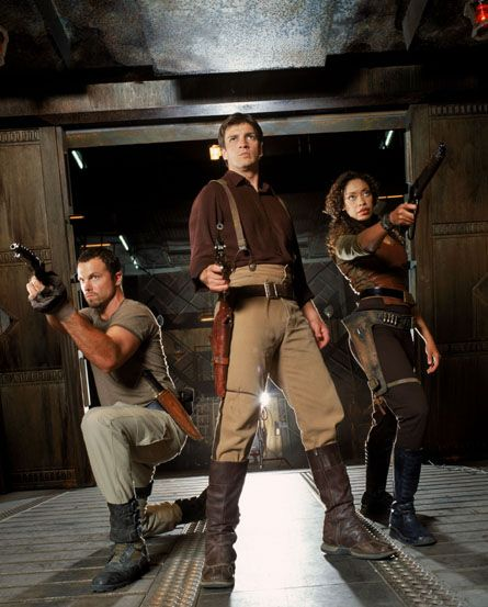 Adam Baldwin, Nathan Fillion, and Gina Torres in Firefly