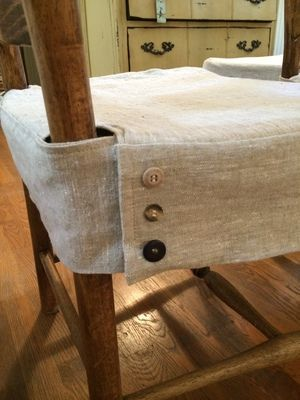 Close-up of closure detail on dining chair slipcover