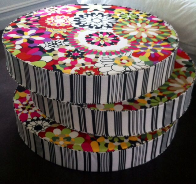 These giant bright, bold, circular floor cushions are fun & interesting feature to breath life into your living spaces.  Funky fabrics like these are available at   Www.retrohomefabrics.com.au