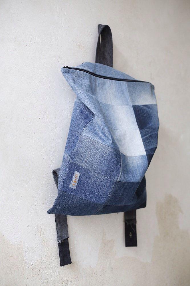 Jeansrucksack / Upcycled Rucksack / handgemachte blaue Jeans Tasche / einfacher Rucksack / Jeans Patchwork Tasche / Jeans Rucksack