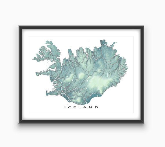 Iceland Map / Iceland Art / Reykjavik / Travel Map Print