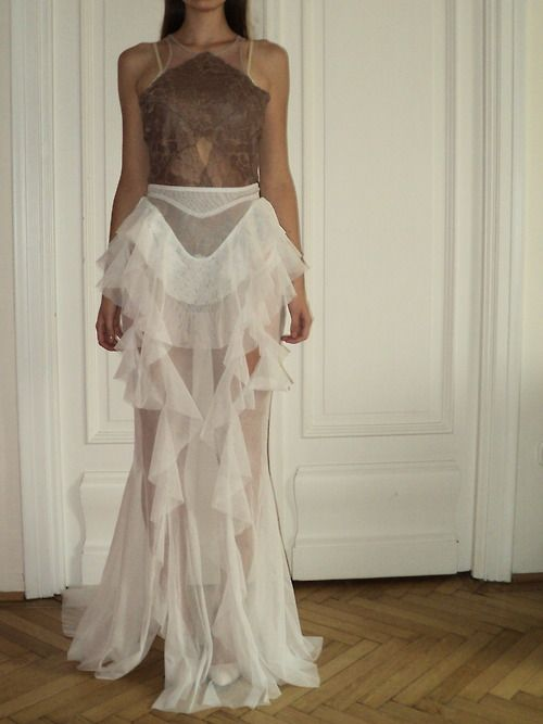 Nora Sarman lace body and tulle skirt