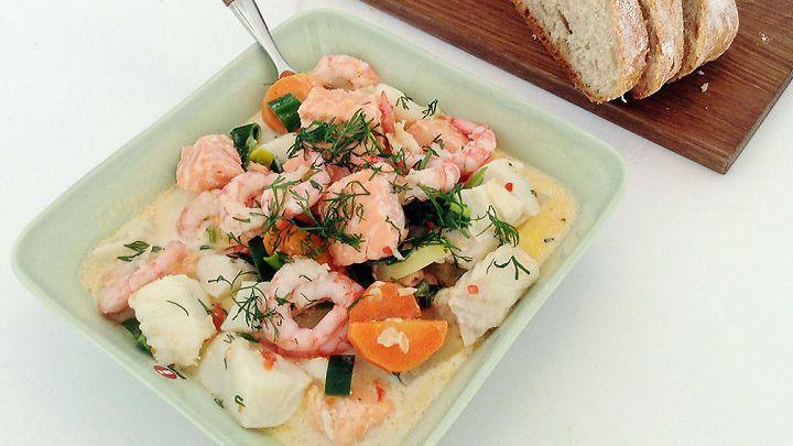 Ukens matblogger: Kremet fiskesuppe med reker
