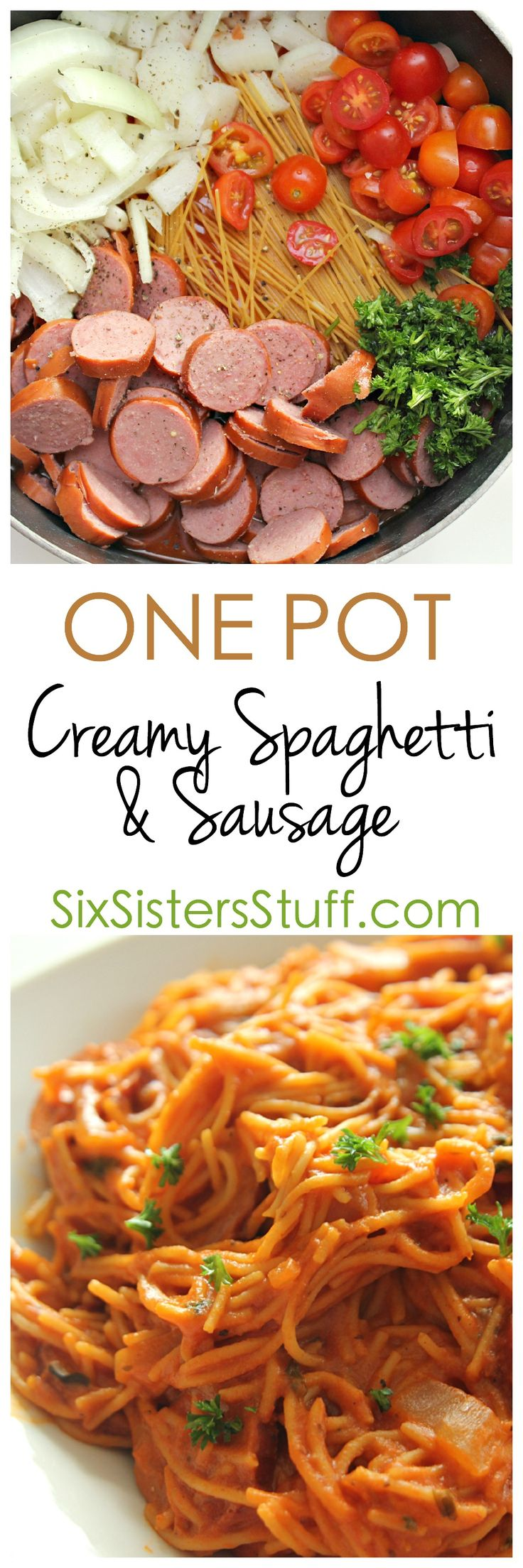 EASY One Pot Creamy Spaghetti and Sausage Skillet on SixSistersStuff.com - ready in less than 30 minutes! @RagúSauce #OnePotPasta