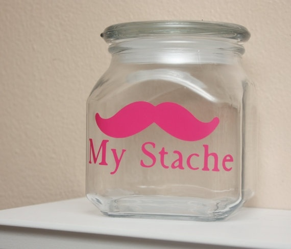 lolCandies Jars, Glasses Etchings, Mustaches Stuff, Saving Money, Cute Ideas, Too Funny, Hot Pink, Mustaches Theme, Money Jars
