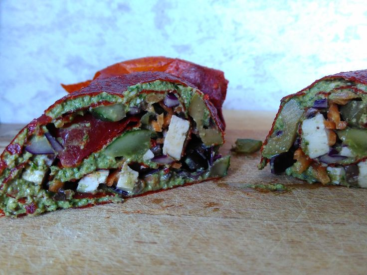 Bell pepper sheet filled with veggies, smoked tofu and basil pesto