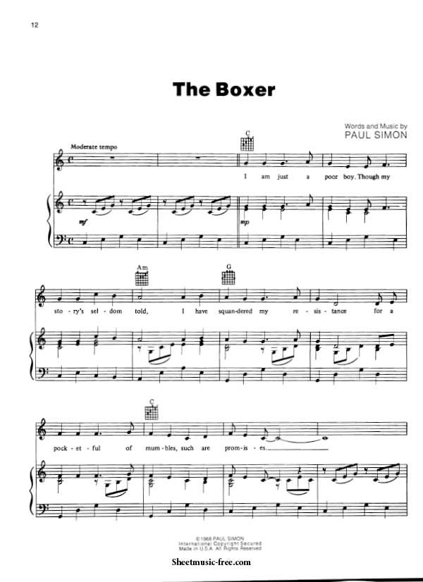 The Boxer Sheet Music Simon And Garfunkel With Images Sheet