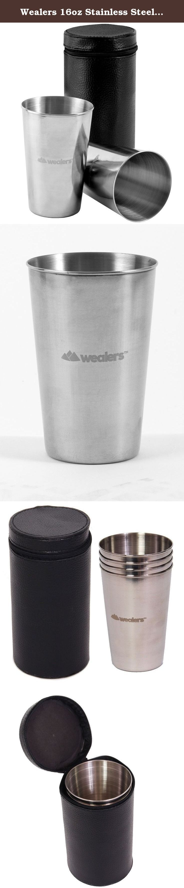 Wealers 16oz Stainless Steel Pint Cups, {5 Pack} BPA & Toxin Free, Great for Outdoors, Camping, Backpacking, and Travel, Carry Case Included. Perfect for a drink of water, juice, iced coffee, beer, smoothies, milk or any other beverage, Wealers 16 oz Stainless Steel pint cups are the favored multi-use cup for any occasion. Forget those wasteful red plastic cups. Grab your stainless steel cups the next time you head out for a picnic, concert, BBQ, beach trip or just have friend over for...