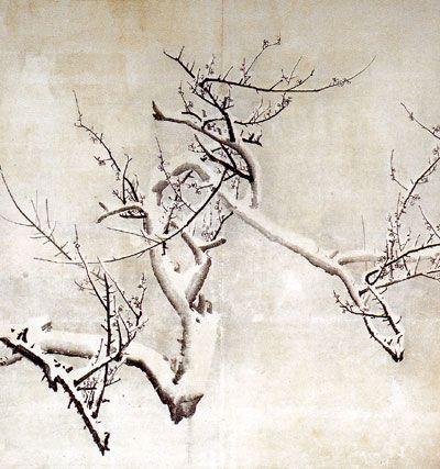 ほぼ日刊イトイ新聞 - 江戸が知りたい。東京ってなんだ?!『雪梅図襖』(草堂寺本堂障壁画)(重要文化財)(部分)円山応挙 草堂寺蔵 ほぼ日ちょっと間違えても 白を塗り足すわけにいかないから。 そういうことを、すっごくいっぱい やってるんですよね、応挙は。 そして応挙って、木も好きですね。 江里口ええ、梅もけっこう。『老梅図』。 枯れた表現も好きなんですよね。