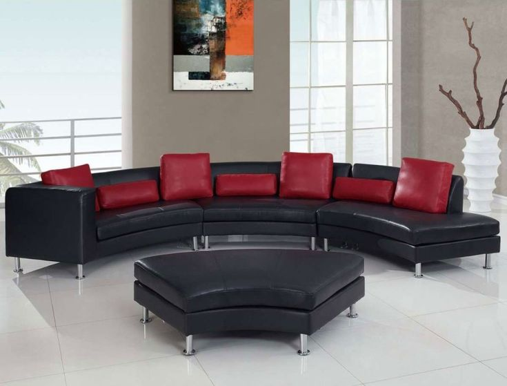 Sofa BedSleeper Sofa Rounded Ultra Bonded Metal Legs Sectional Sofa Black Red Pillows Elegant Style Separating your self from the rest made easy