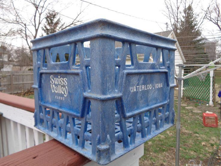 Vintage Plastic Milk Crate Swiss Valley Farms Waterloo Iowa Advertising #SwissValleyFarms