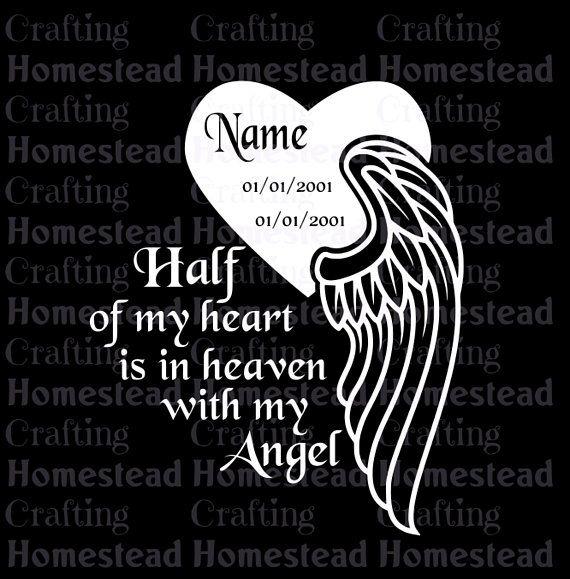Download Angel wings memorial / always remember heart half in ...