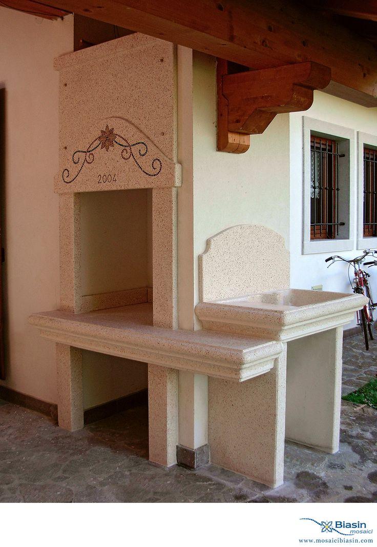 Barbecue | Mosaici Biasin: mosaico, mosaici, arredo giardino, arredamento giardino, barbecue, lavelli, arredamento da esterno, cucina in muratura