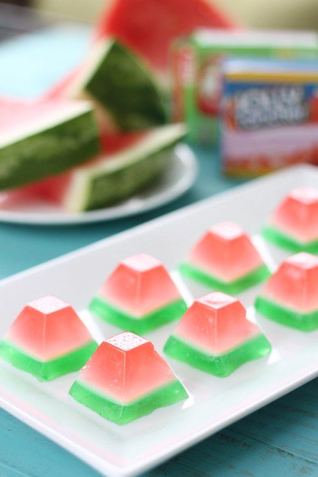 Watermelon Gem Jello Shots (1 box Jolly Rancher Watermelon jello 1 box lime jello 2 Tbs Sweetened Condensed Milk 2 1/2 cups water 2 cups tequila or vodka  3 envelops Knox gelatin)