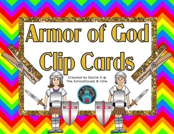 Here is 4 sets of clip cards for the Armor of God.  These are perfect for a variety of ages/grades to teach or review the Armor of God.  Included sets of clip cards:Image of the piece of armor is matched with the characteristic word to be clippedClip the image of the piece of armor to fill in the blank for the characteristicPiece of armor word is matched by clipping the characteristicThe characteristic word is matched by clipping the piece of armor wordNOTE:  This is for the Catholic…
