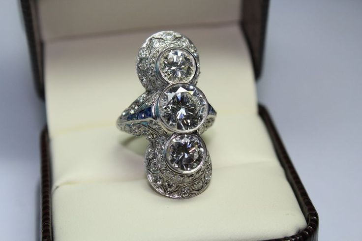 Dallas Diamond Syndicate. This is one of the most elegant Art Deco Rings I have had in Many years. The center Diamond is approx 2.65 Carats approx H-I COLOR SI-1. 2 diamonds top and bottom approx 2.80 carats I/J SI-1. | eBay!