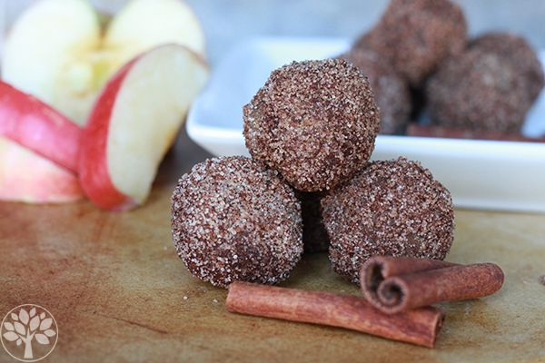 apple cinnamon donut holes - nut free -  squeeze water out of the apple - used coconut sugar on the outside & it reminded me of a crumb donut - if storing would leave off the coconut oil / sugar on the outside until right before you eat.