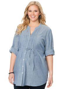 Motherhood Maternity Plus Size Convertible Sleeve V-neck Button Front Maternity Tunic