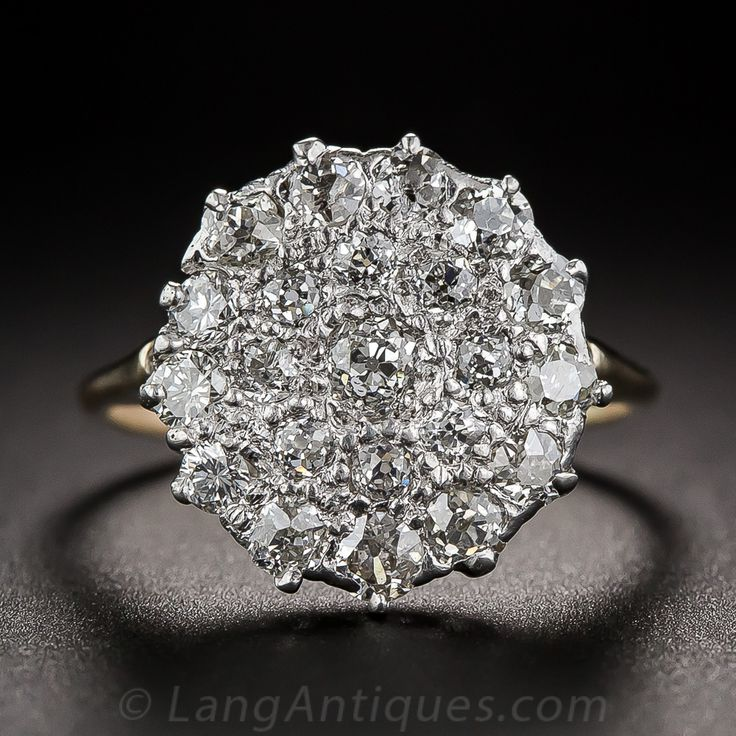 Ring #1 Note: MUST HAVE THIS RING! SOMEWHAT STRAIGHT LINE TO NEXT PRONG. 13-14 prongs Victorian Diamond Cluster 10-1-6194 - Lang Antiques $2950, Concentric circles of old mine-cut diamonds, totaling 1.25 carats, late-nineteenth/early-twentieth century Victorian. Beautifully hand-crafted in platinum topped 14K gold, ring measures 9/16 inch diameter and is a finger size 5 1/4. Center Diamond = 0.15 cts, cluster of diamonds throughout entire ring, gaps filled with metals.