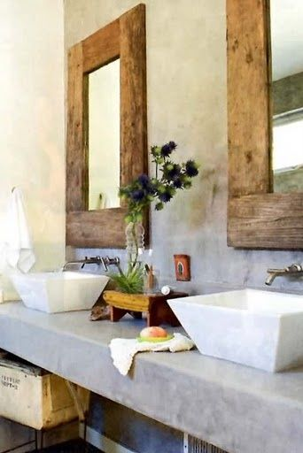 loving the cement countertop. And the sinks. And the mirrors.