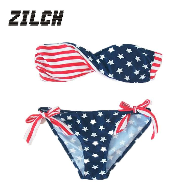 2017 Summer Sexy Women Stars And Stripes USA Flag Bikini Padded Bandeau Swimsuit American Flag Swimwear