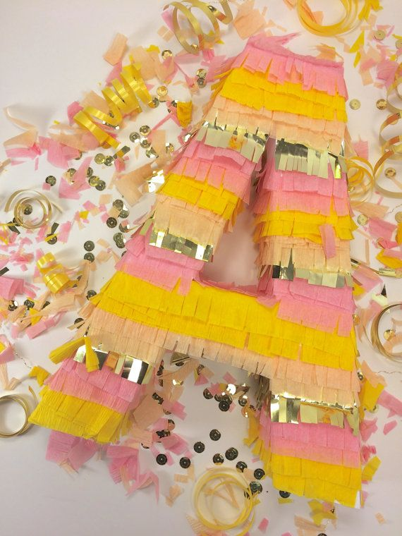Say it with a piñata! These fringe letter piñatas are a fun way to spell out Bride, Baby, Cake, names, initials and anything else you need for your