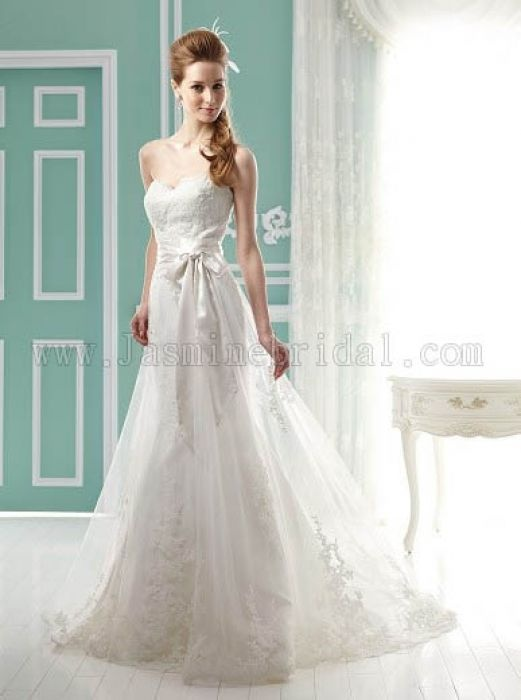 Strapless Tulle and Charmeuse Gown with Sash