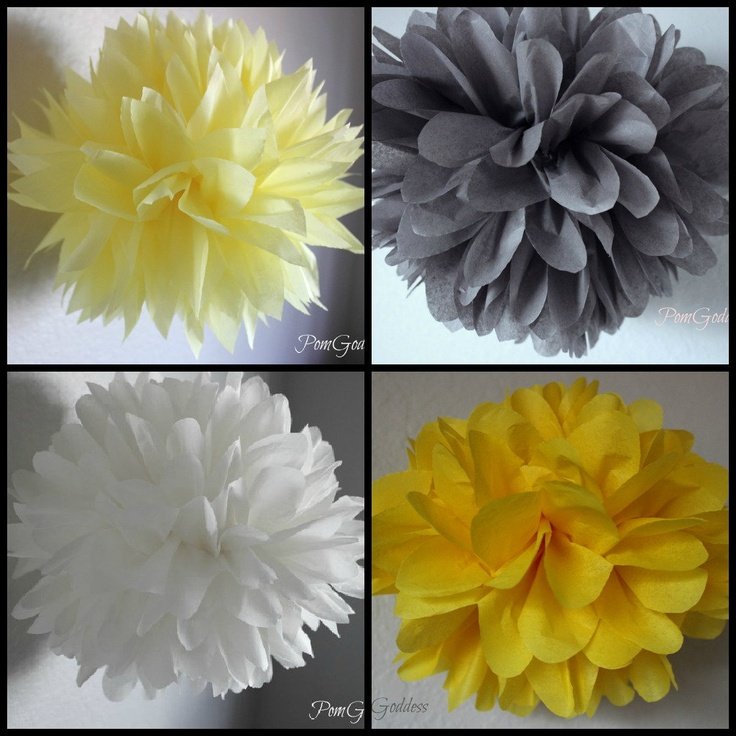 CLEARANCE 8 Tissue Poms - Yellow and Gray Wedding Decorations - Nurse…
