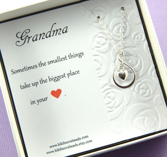 Grandma Necklace Gift For Grandma Heart Necklace by Kikiburrabeads