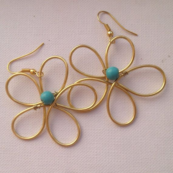 Flower Bronze wire earrings with turquoise beads