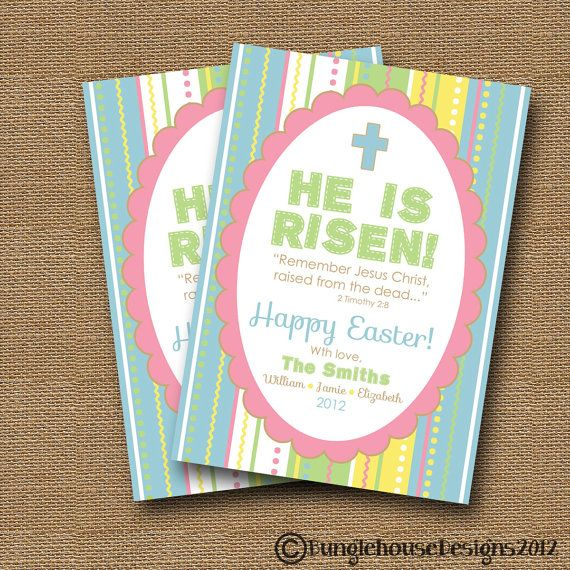 """Easter Card DIY PRINTABLE """"He is Risen"""" Easter Scripture Bible Verse Christian Card on Etsy, $14.00"""