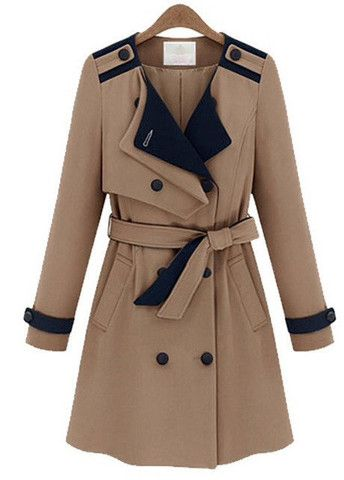 Stunning Double Breasted Khaki Trench Coats with Belt – teeteecee - fashion in style