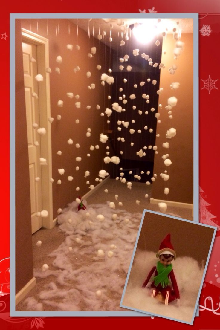 Snowing christmas decoration let it snow - Elf On The Shelf Makes It Snow Our House Is A Snow Globe Lots Of Work But Worth It
