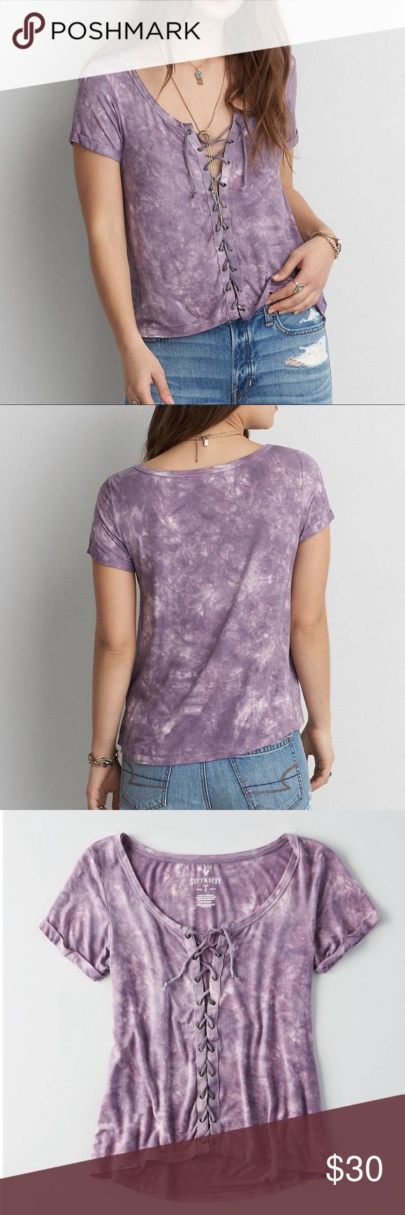 SUMMER COLLECTION/ lace up top Worn only once! Purple tie dye lace up top! Perfect to pair with high waisted jeans or shorts! The shirt is super soft as well! Perfect condition! Price is currently firm! ☺️ American Eagle Outfitters Tops