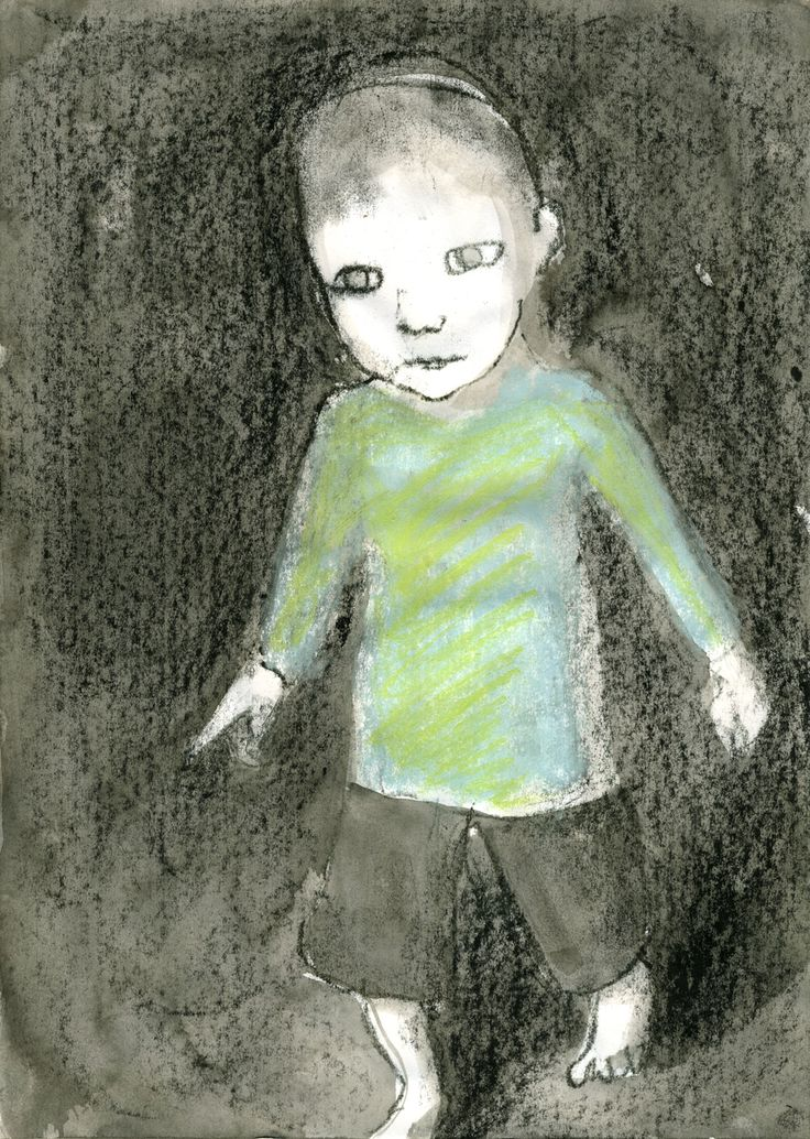blue boy - monotype and soft pastel on paper