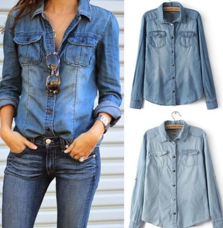 We sell women's jeans shirt with light blue and dark blue ..