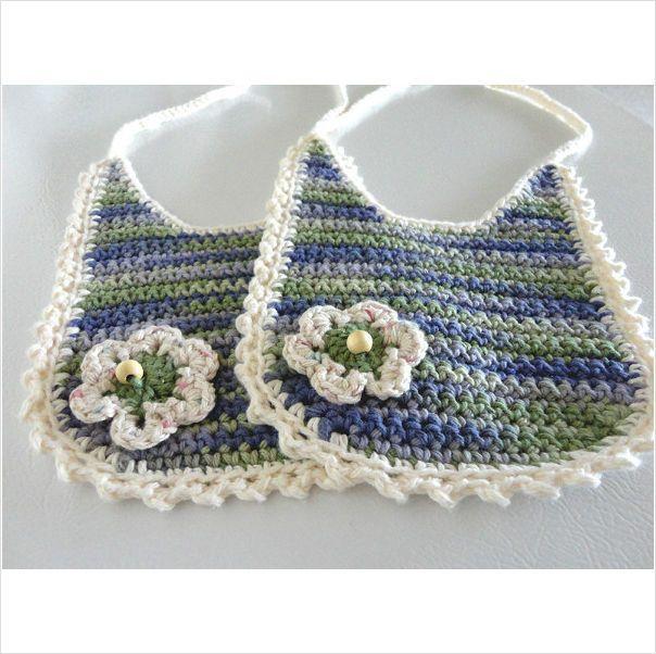 BABY bib set 100% cotton crochet white, color hues 6.5 inch x 6.5 inch #003 on eBid United States