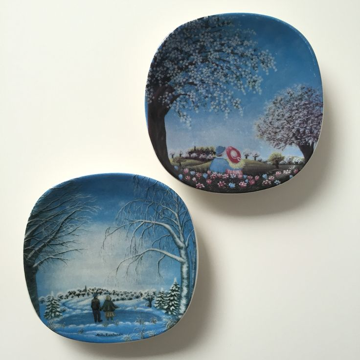 Set of 2 Arabia of finland small wall hanging designed by Anita Rantanen- Siemens from 1980s. This collection is called Spring & winter Atmosphere. Available in my shop at Etsy now.