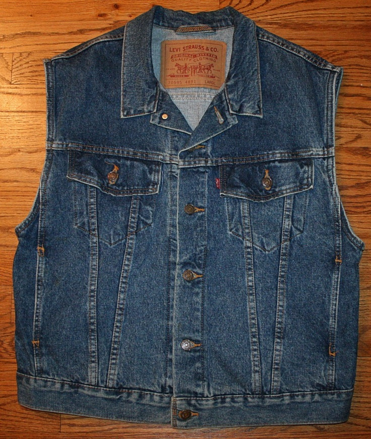 LEVI STRAUSS Denim Jean VEST sleeveless Jacket-Men's Large-Levi's-motorcycle/mechanic