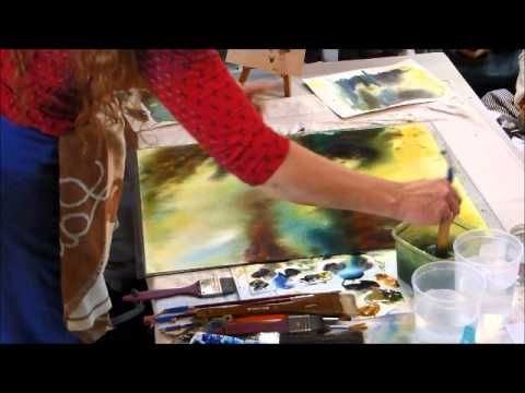 Démonstration de la technique humide sur humide et le cycle de l'eau en aquarelle