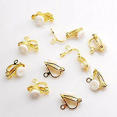 イヤリングパーツ クリップ式 ゴールド 10個 シリコンパッド付 イヤリング金具 アクセサリーパーツ 金具 ビーズ 材料 素材 パウダートレーディング
