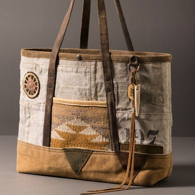 Tote: patchwork canvas, vintage leather, Navajo pockets