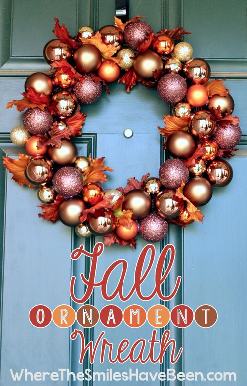 Fall Ornament Wreath via Where The Smiles Have Been. #fall #wreath