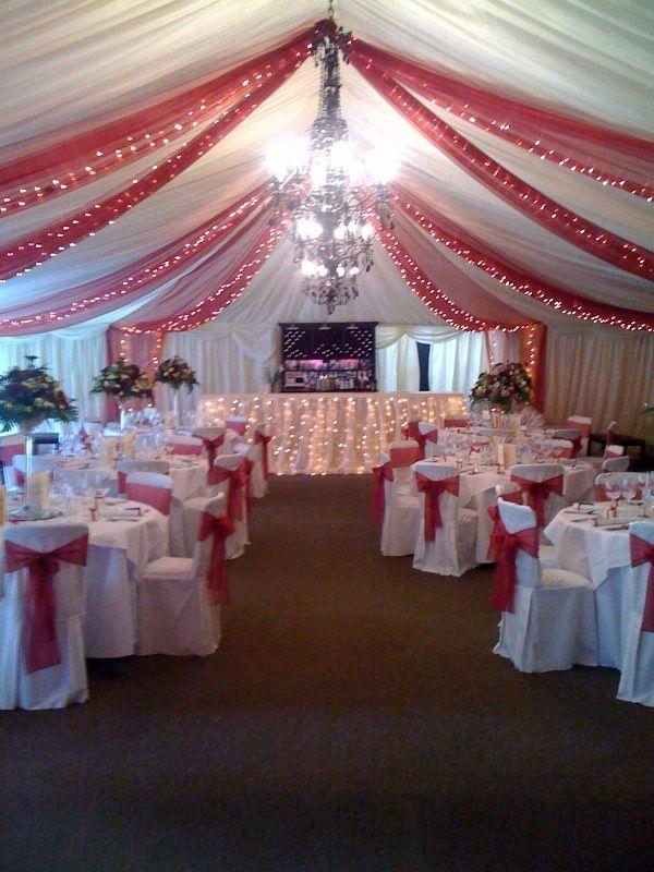 Christmas Wedding Decor! I Love The Tulle Decor On The Ceilling