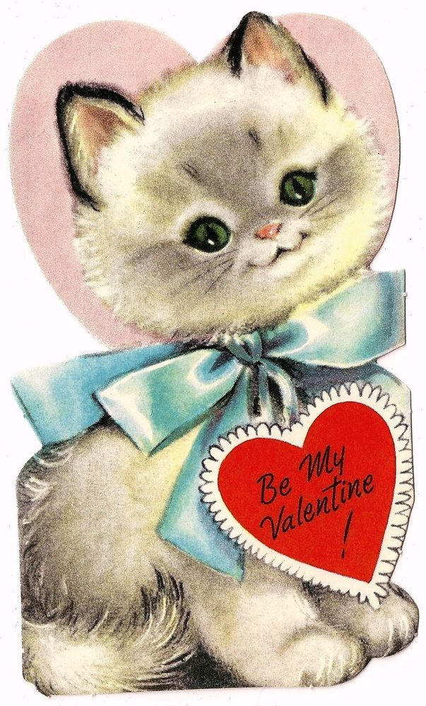 """SWEET FLUFFY WHITE KITTY CAT SAYS """"BE MY VALENTINE"""" / VINTAGE VALENTINE CARD #Gibson"""